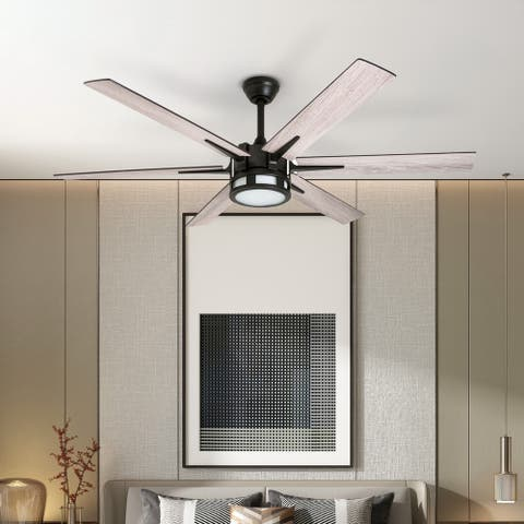 Honeywell Kaliza LED Ceiling Fan with Remote Control, Contemporary Modern, 6 Blades, Espresso - 56-inch