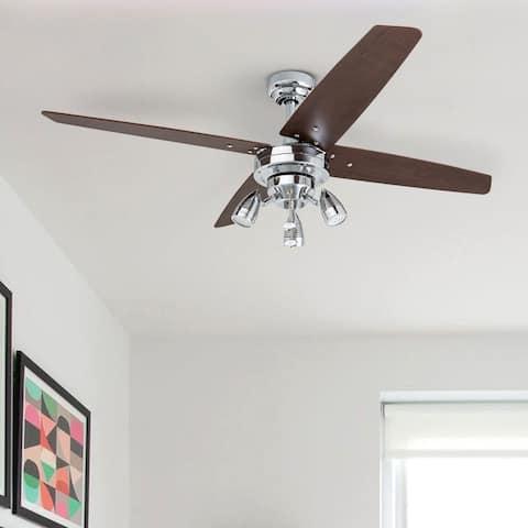 Prominence Home Civa Ceiling Fan, Modern Farmhouse, 4 Barnwood Blades, Chrome - 48-inch