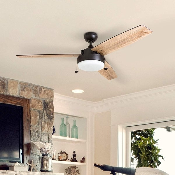 Copper Grove Andreas 52-inch Espresso LED Ceiling Fan with 3 Barnwood Blades. Opens flyout.