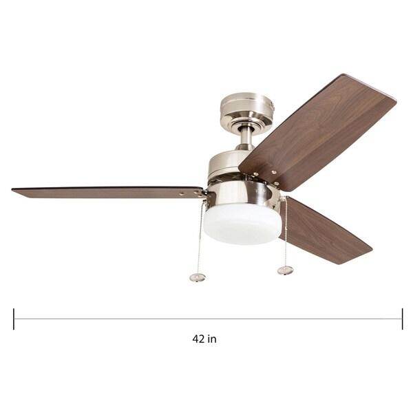 Copper Grove Glenfaba 42-inch Brushed Nickel Ceiling Fan with 3 Barnwood Blades