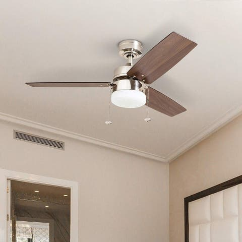 Copper Grove Glenfaba 42-inch Brushed Nickel Ceiling Fan with 3 Barnwood Blades