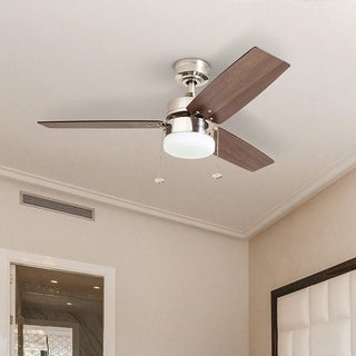 Link to Copper Grove Glenfaba 42-inch Brushed Nickel Ceiling Fan with 3 Barnwood Blades Similar Items in Ceiling Fans