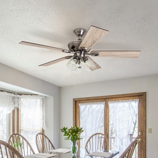 The Gray Barn Grumio Antique Pewter 52-inch Ceiling Fan with 5 Barnwood Blades. Opens flyout.