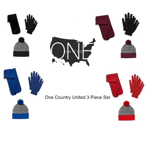 One Country United Women's 3 Piece Combo, Hat, Scarf & Gloves