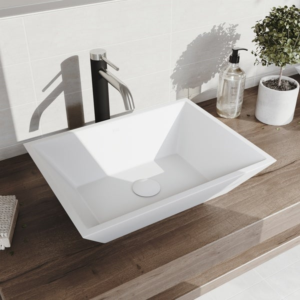 VIGO Vinca Matte StoneTM Vessel Bathroom Sink and Lexington cFiber Vessel Bathroom Faucet in Brushed Nickel