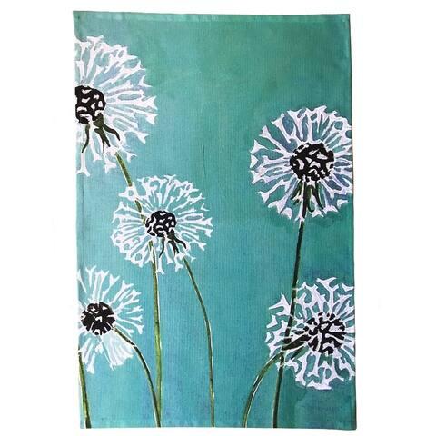Handmade Dandelions on Aqua Tea Towel (United Kingdom)