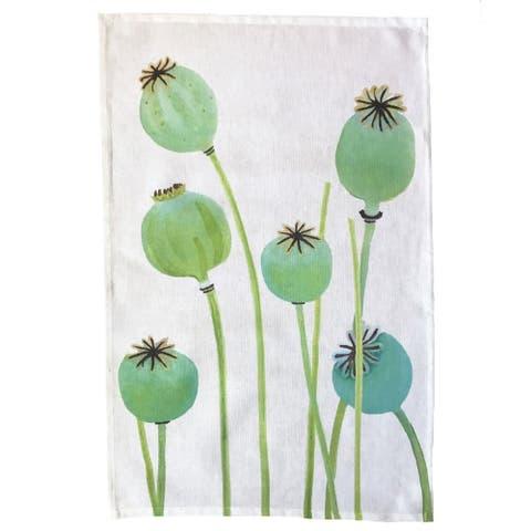 Handmade Poppy Pods on Ecru Tea Towel (United Kingdom)