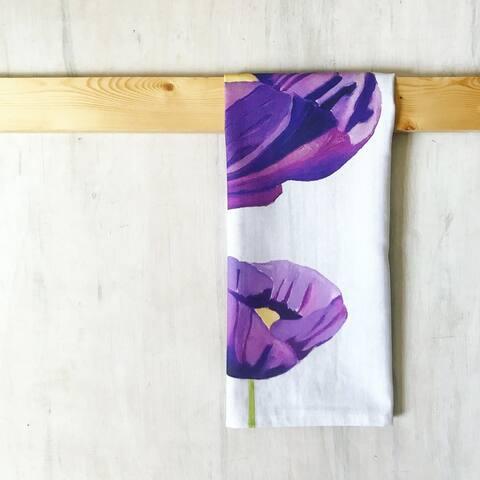 Handmade Purple Poppies on Snow Tea Towel (United Kingdom)