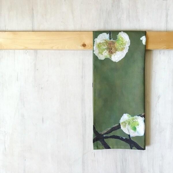 Handmade White Flowers on Green Tea Towel (United Kingdom)