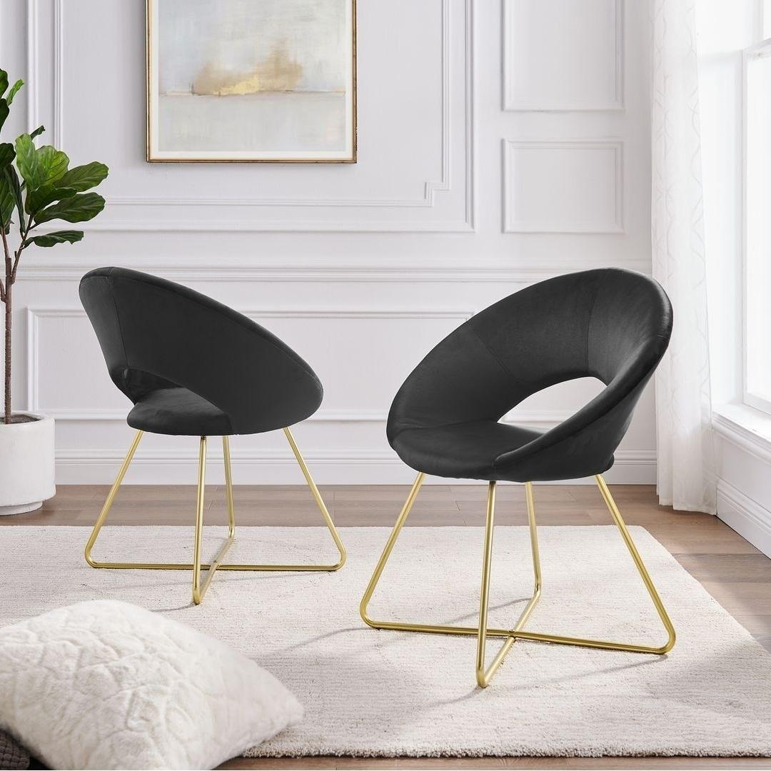 Corvus Hugh Velvet Accent Chairs Set Of 2
