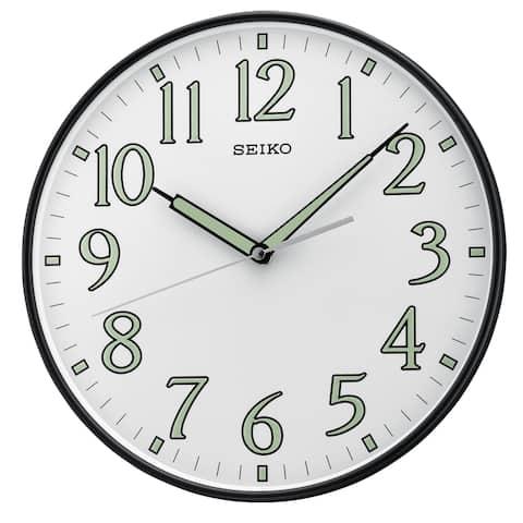 "Seiko 12""White & Black Framed Luminous Numbered Wall Clock"