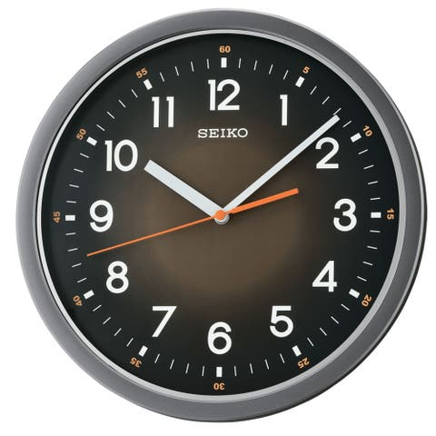 "Seiko 12"" Black Ultra-Modern with Quiet Sweep Wall Clock"