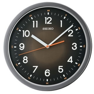 """Seiko 12"""" Black Ultra-Modern with Quiet Sweep Wall Clock"""