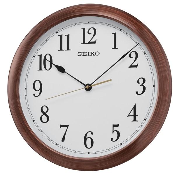 "Seiko 16"" Numbered Wood Finish Wall Clock"