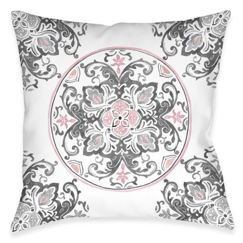 Pink Floral Medallion Indoor Pillow