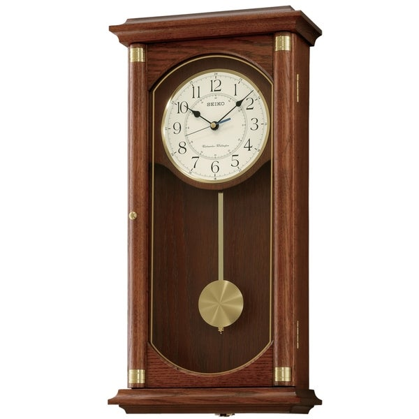 Seiko Rectangular Wall Clock with Pendulum and Dual Chimes. Opens flyout.
