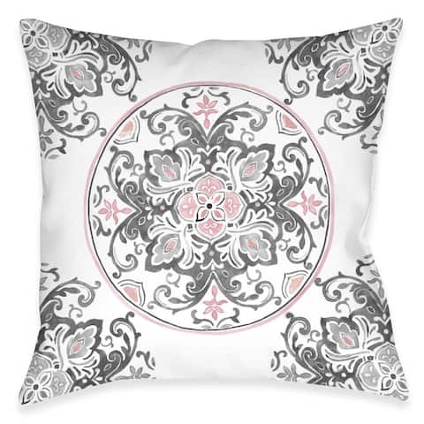 Pink Floral Medallion Outdoor Pillow