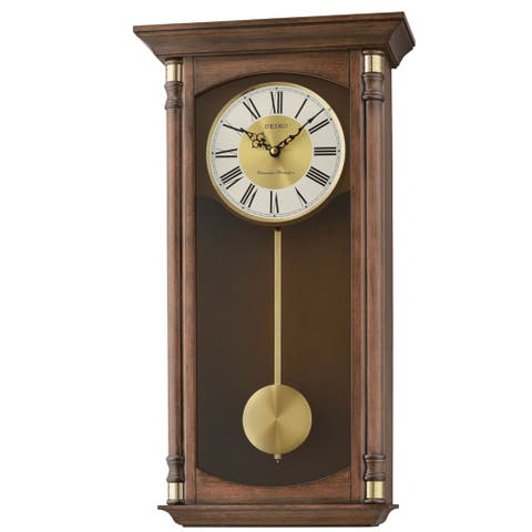 "Seiko 12"" Round Wood Grain Finish Wall Clock with Dual Quarter Hour Chimes"