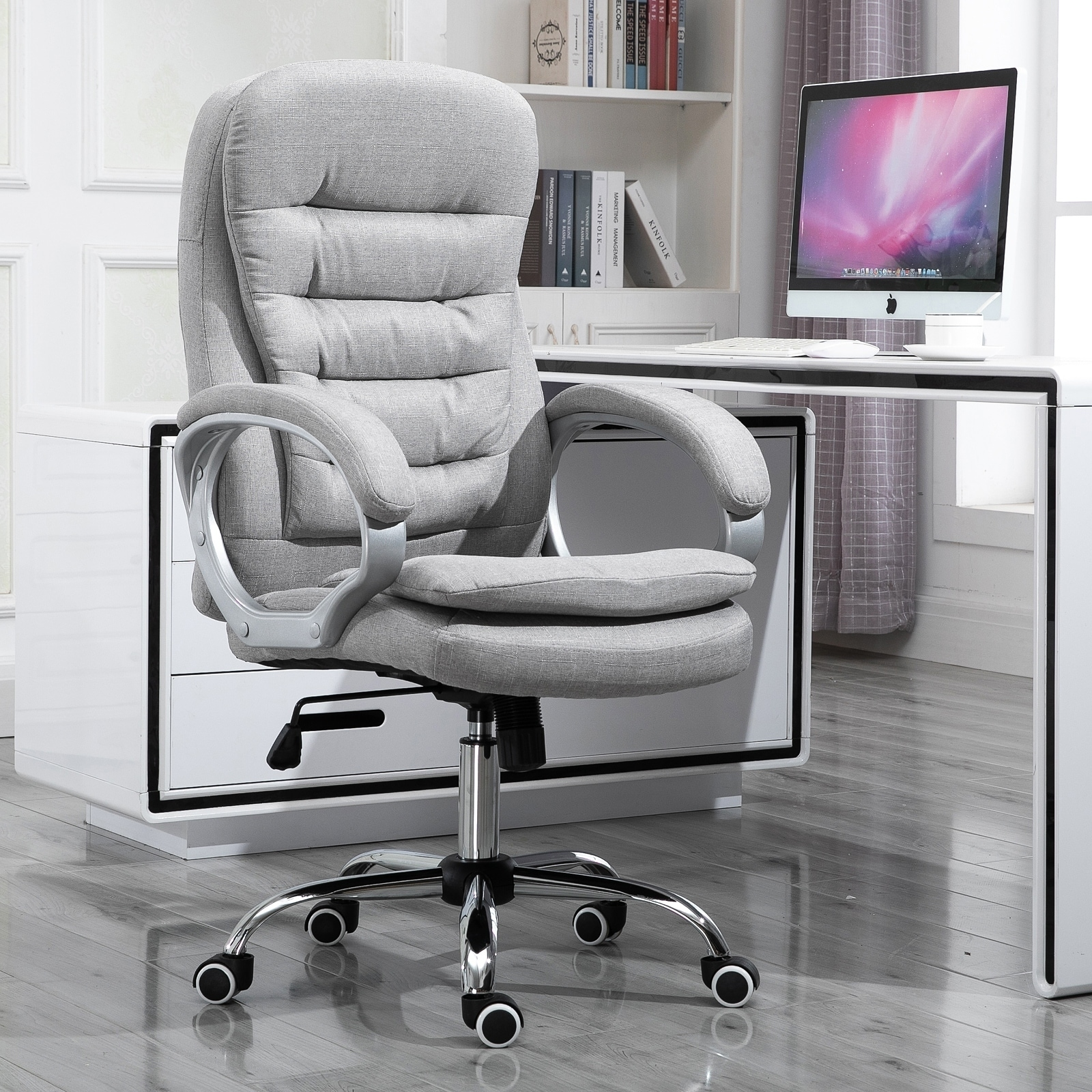 Shop Vinsetto Adjustable Height Ergonomic High Back Home Office Chair With Armrests Grey On Sale Overstock 29863348