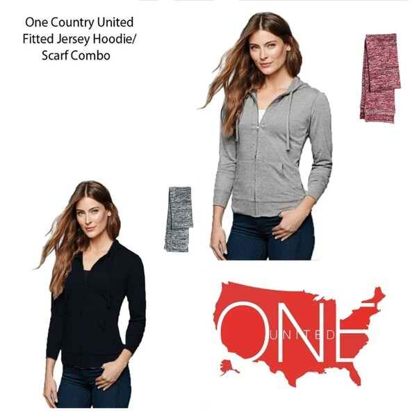 One Country United Womens Fitted Jersey Full- Zip Hoodie/Scarf Combo
