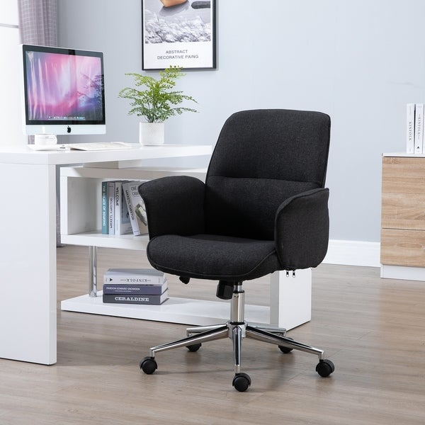 Shop Vinsetto Adjustable Linen Fabric Swivel Home Office