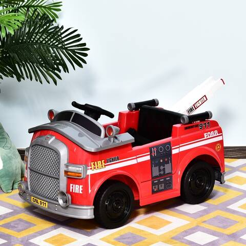 Aosom 6V Electric Ride-On Fire Truck Vehicle for Kids with Remote Control, Music, Light and Ladder