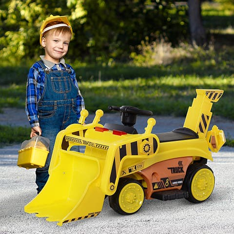 Aosom 6V Electric Bulldozer Ride-On Construction Excavator Toy Vehicle for Kids with Music, Lights, and Shovel