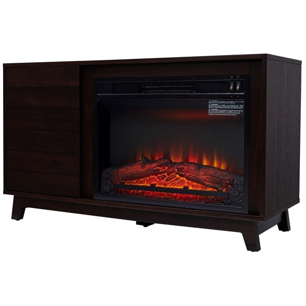 """HomCom Freestanding Wooden Electric Fireplace TV Stand for TVs up to 50"""" Contemporary 42"""" L"""