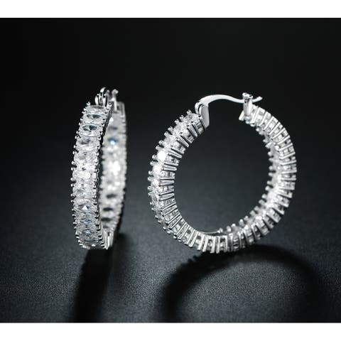 Beautiful Hoop Style Earrings made with White Gold Overlay and Swarovski Elements