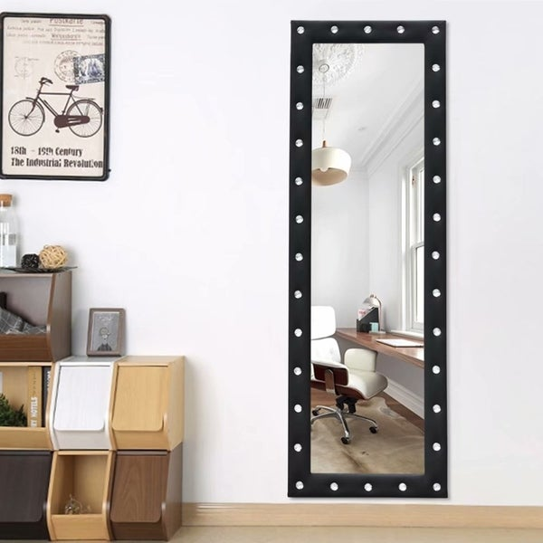 Modern Mosaic Full Length Leaning Hanging Floor Mirror With Rhinestone - 64.96x21.66