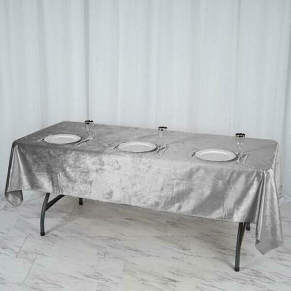 "Premium Velvet Rectangle Tablecloth 60"" x 102"" Silver"