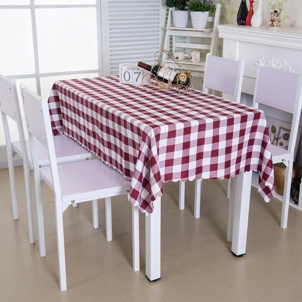 """Polyester Wine Red Square Rectangle Washable Tablecloth 54"""" x 72"""""""