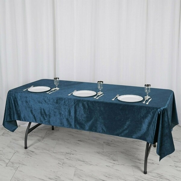 "Premium Velvet Rectangle Tablecloth 60"" x 102"" Navy Blue"