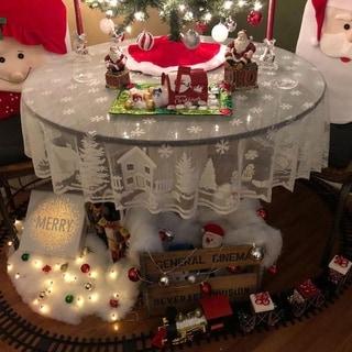 "White Lace Snowflake Elk ChristmasRoundTableCloth70"""