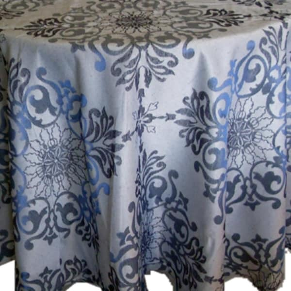 "Polyester Holiday Elegant Jacquard Fabric Tablecloth 52"" x 90"" Blue"