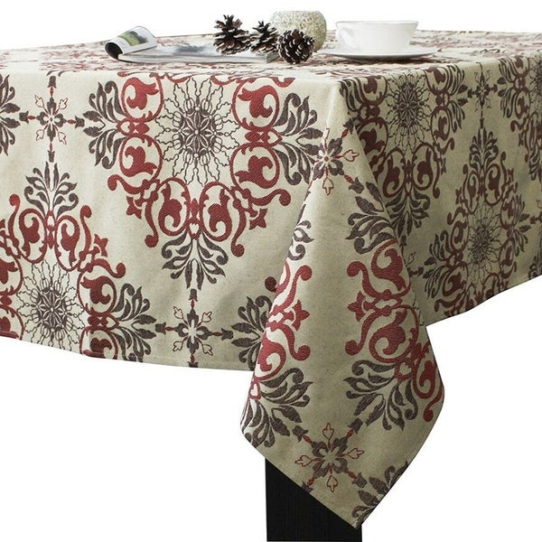 "Polyester Holiday Elegant Jacquard Fabric Tablecloth 52"" x 52"" Red"