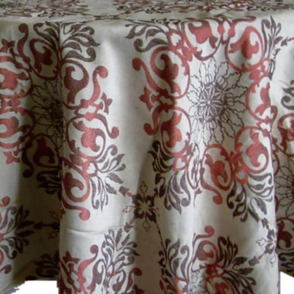 """Polyester Holiday Elegant Jacquard Fabric Tablecloth 52"""" x 102"""" Red"""