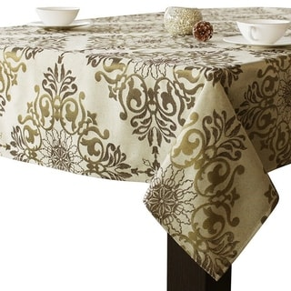 "Polyester Holiday Elegant Jacquard Fabric Tablecloth 52"" x 52"" Gold"