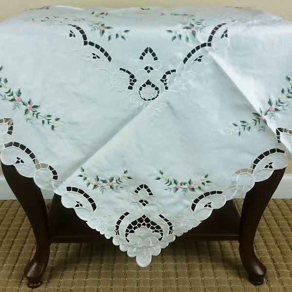 """Embroidered Handmade Rosebud Cutwork Square Tablecloth 36"""" x 36"""""""