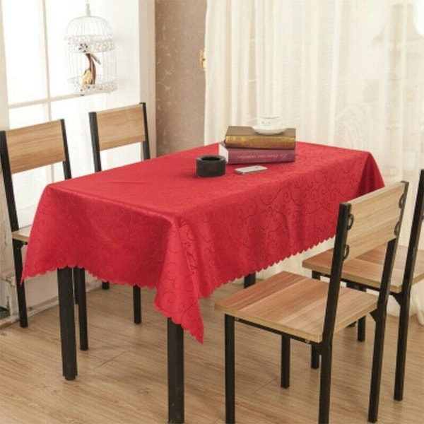 """Jacquard Weave Peony Table Cloth 59"""" x 82"""" Red"""
