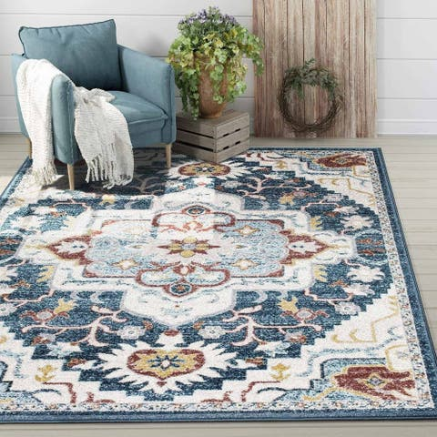 Gracewood Hollow Gambito Classic Floral Area Rug