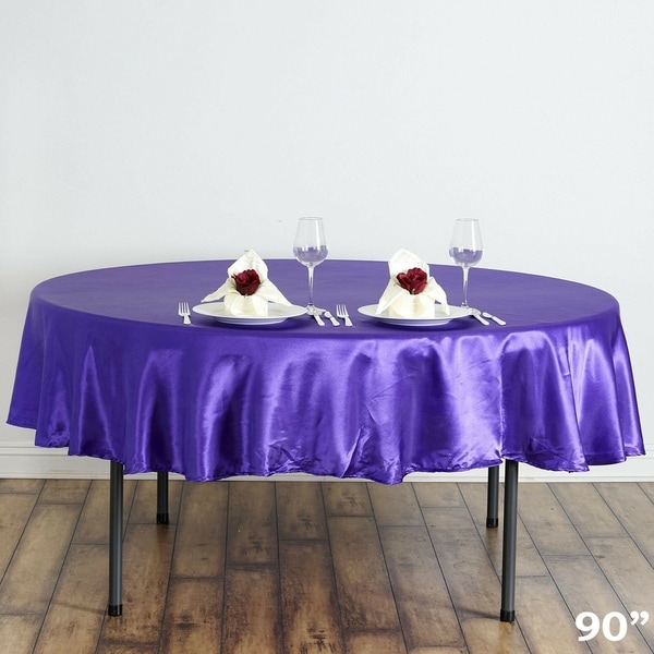 "Satin Round Tablecloth 90"" Purple"