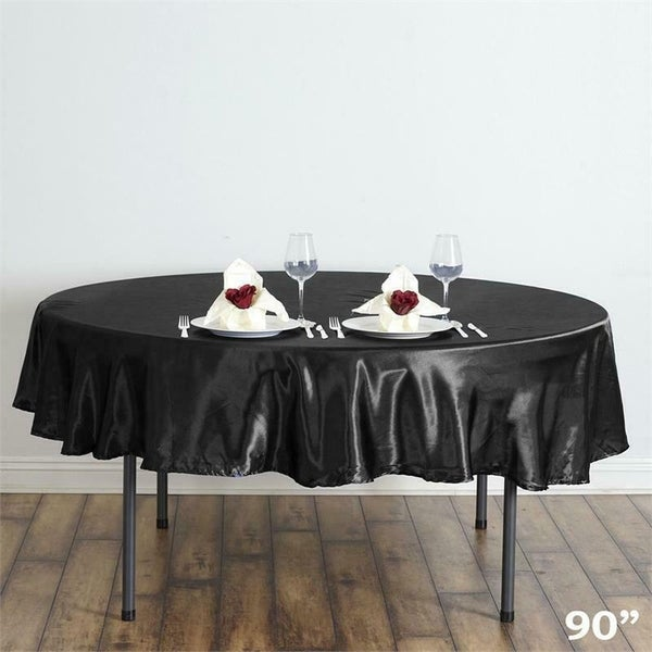 "Satin Round Tablecloth 90"" Black"