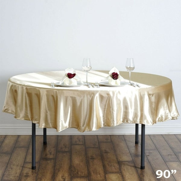 """Satin Round Tablecloth 90"""" Champagne"""