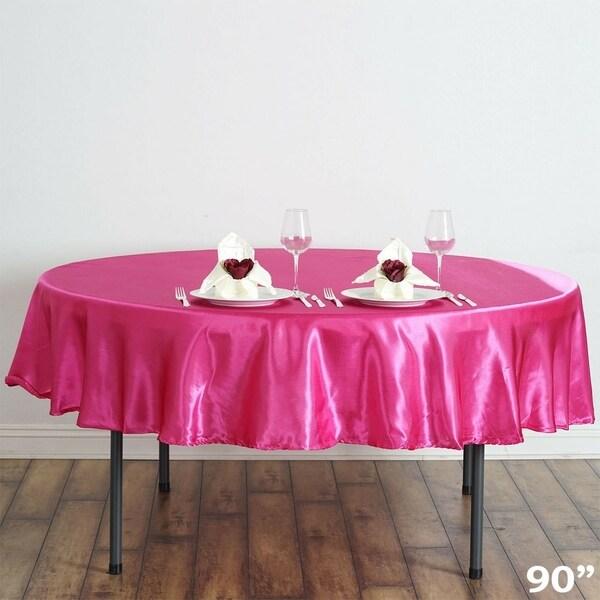 """Satin Round Tablecloth 90"""" Fuchsia"""
