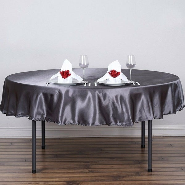 "Satin Round Tablecloth 90"" Grey"