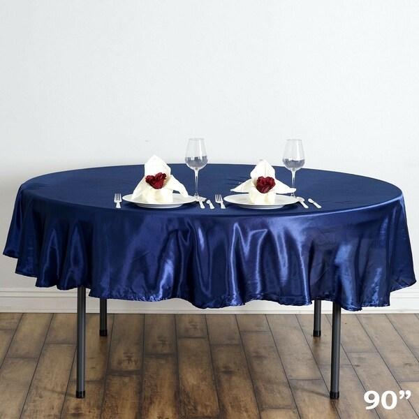 "Satin Round Tablecloth 90"" Navy Blue"