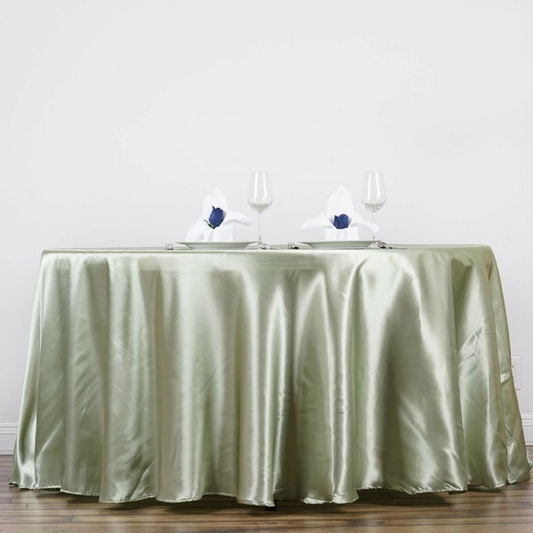 "Satin Round Tablecloth 90"" Reseda"