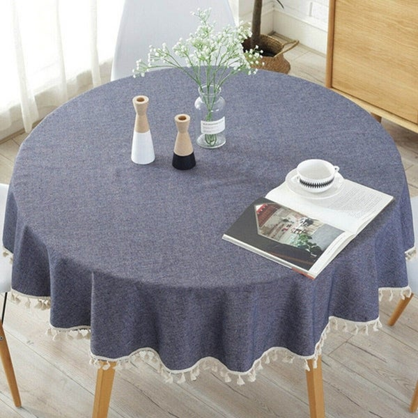 """Simple Cotton Tassel Round Tablecloth 60"""" Navy Blue"""