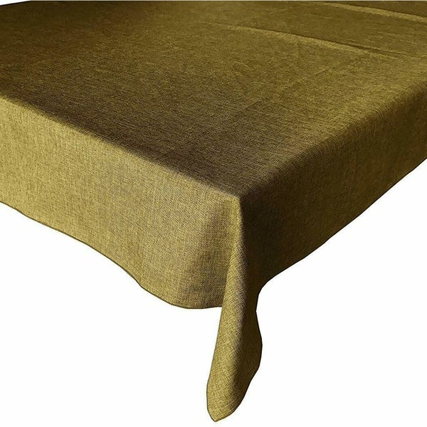 """Faux Burlap Style Polyester Woven Tablecloth 48"""" x 48"""" Dark Gold"""